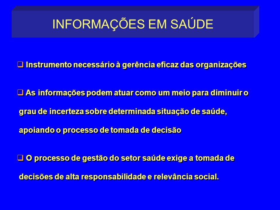 INFORMAÇÕES EM SAÚDE Instrumento necessário à gerência eficaz das organizações. As informações podem atuar como um meio para diminuir o.