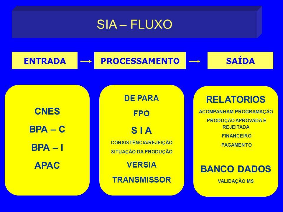 SIA – FLUXO RELATORIOS CNES S I A BPA – C BPA – I BANCO DADOS APAC