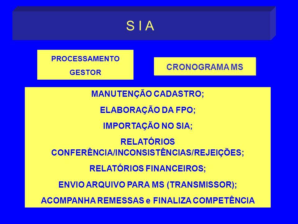 S I A CRONOGRAMA MS MANUTENÇÃO CADASTRO; ELABORAÇÃO DA FPO;