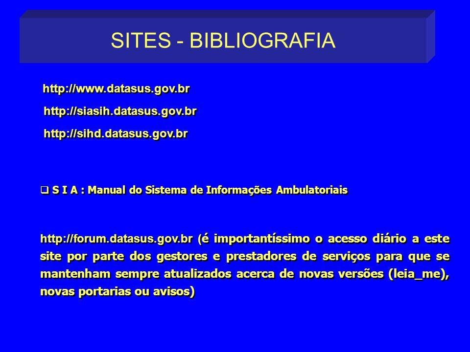 SITES - BIBLIOGRAFIA http://siasih.datasus.gov.br