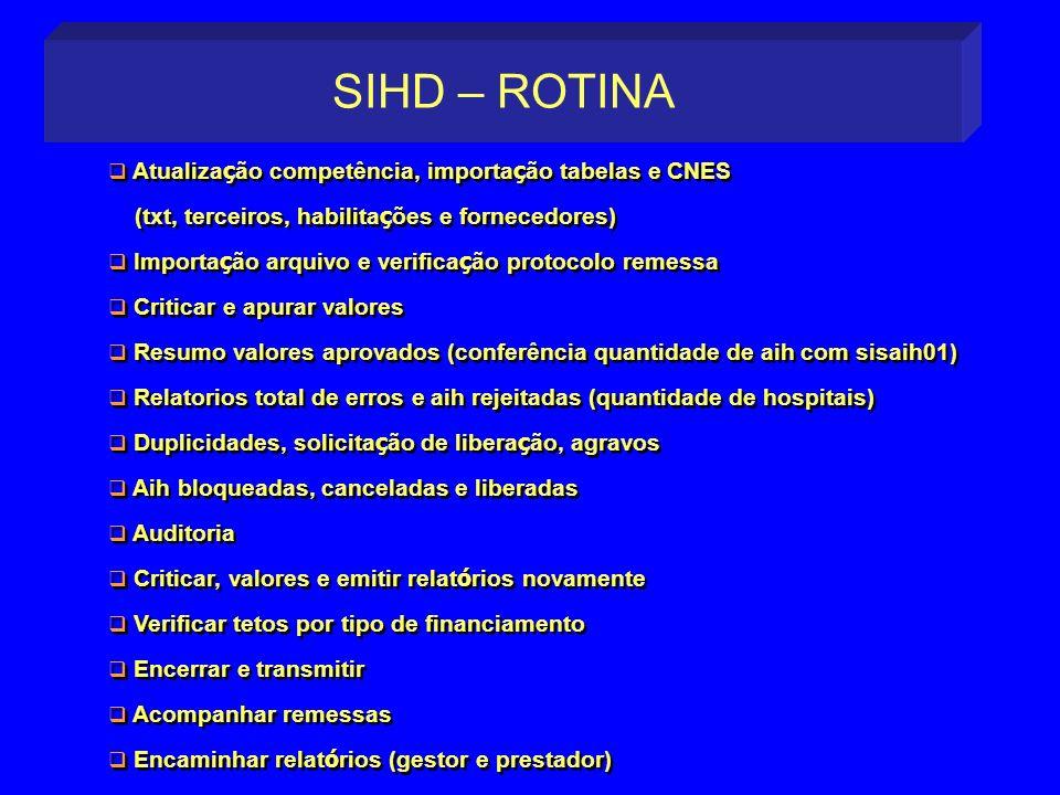 SIHD – ROTINA Atualização competência, importação tabelas e CNES