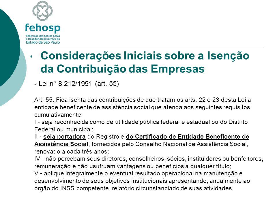 Considerações Iniciais sobre a Isenção da Contribuição das Empresas