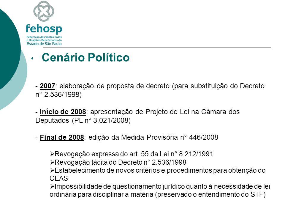 Cenário Político 2007: elaboração de proposta de decreto (para substituição do Decreto n° 2.536/1998)