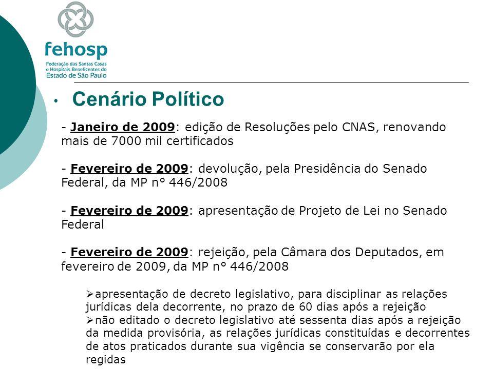 Cenário Político Janeiro de 2009: edição de Resoluções pelo CNAS, renovando mais de 7000 mil certificados.