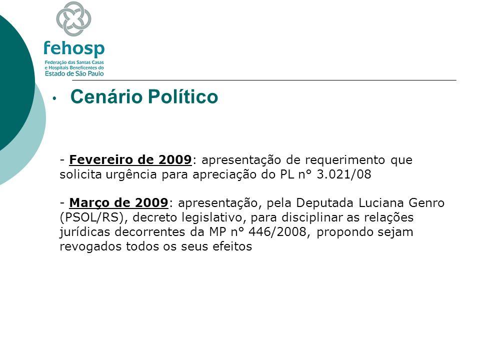 Cenário Político Fevereiro de 2009: apresentação de requerimento que solicita urgência para apreciação do PL n° 3.021/08.