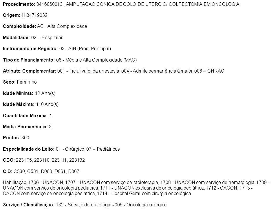 Procedimento: 0416060013 - AMPUTACAO CONICA DE COLO DE UTERO C/ COLPECTOMIA EM ONCOLOGIA