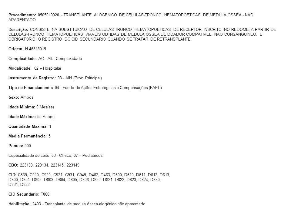 Procedimento: 0505010020 - TRANSPLANTE ALOGENICO DE CELULAS-TRONCO HEMATOPOETICAS DE MEDULA OSSEA - NAO APARENTADO