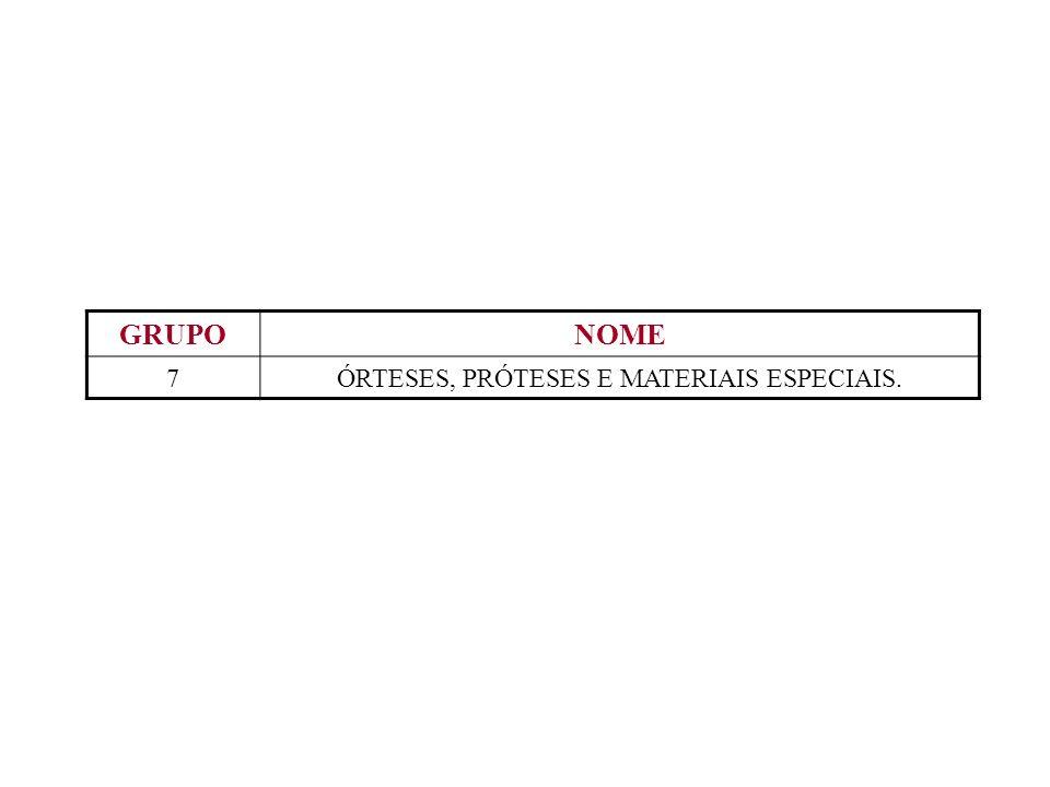 ÓRTESES, PRÓTESES E MATERIAIS ESPECIAIS.