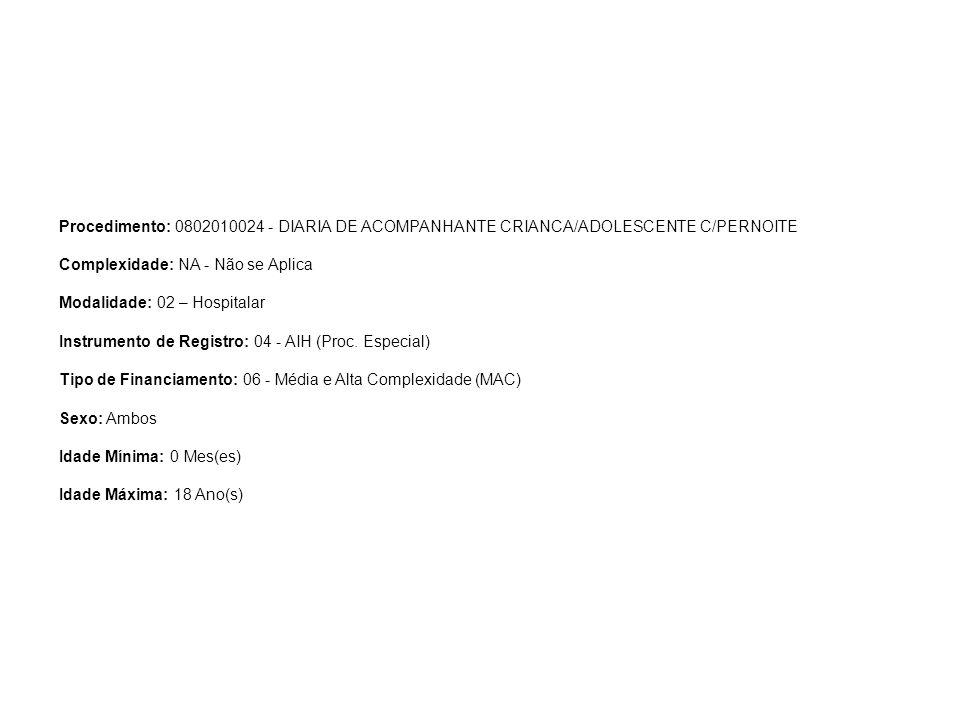 Procedimento: 0802010024 - DIARIA DE ACOMPANHANTE CRIANCA/ADOLESCENTE C/PERNOITE