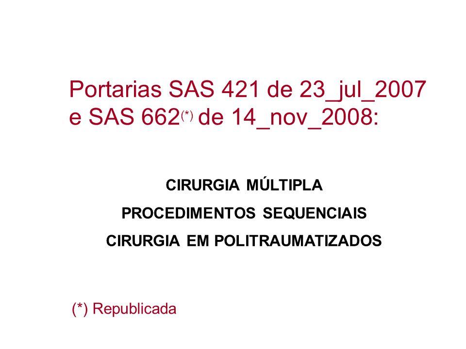 PROCEDIMENTOS SEQUENCIAIS CIRURGIA EM POLITRAUMATIZADOS