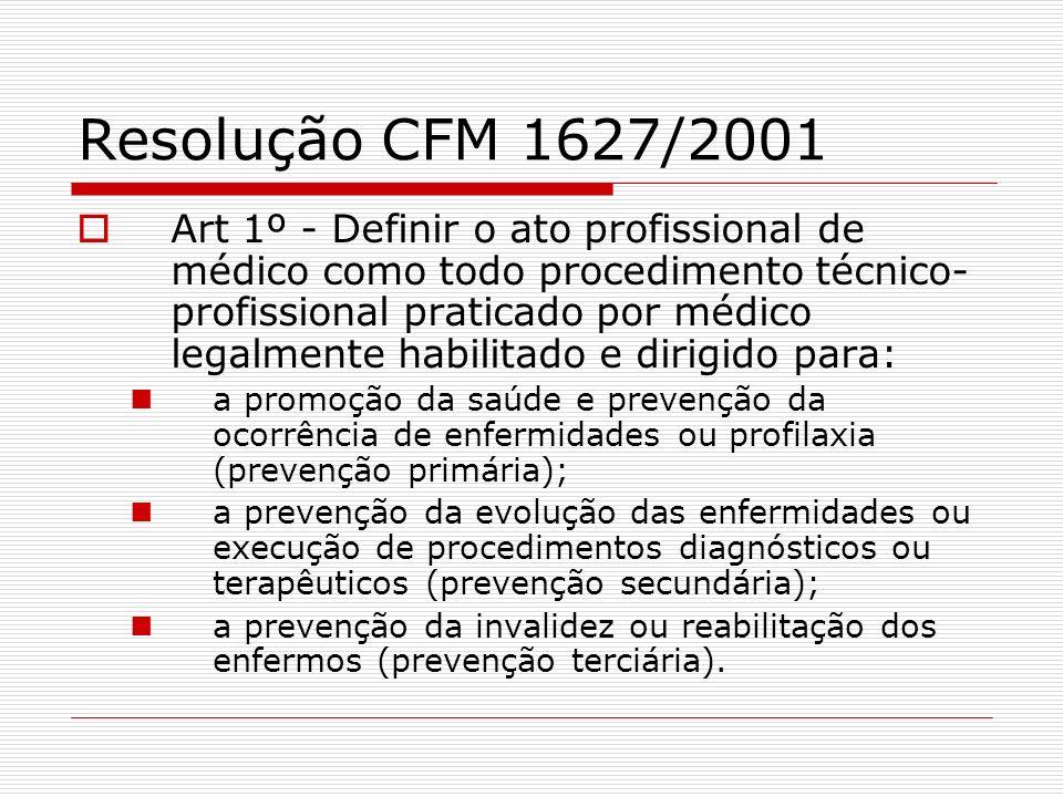 Resolução CFM 1627/2001