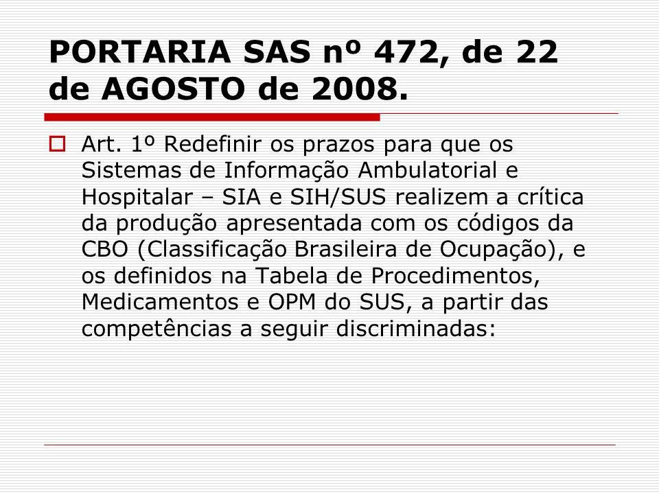 PORTARIA SAS nº 472, de 22 de AGOSTO de 2008.