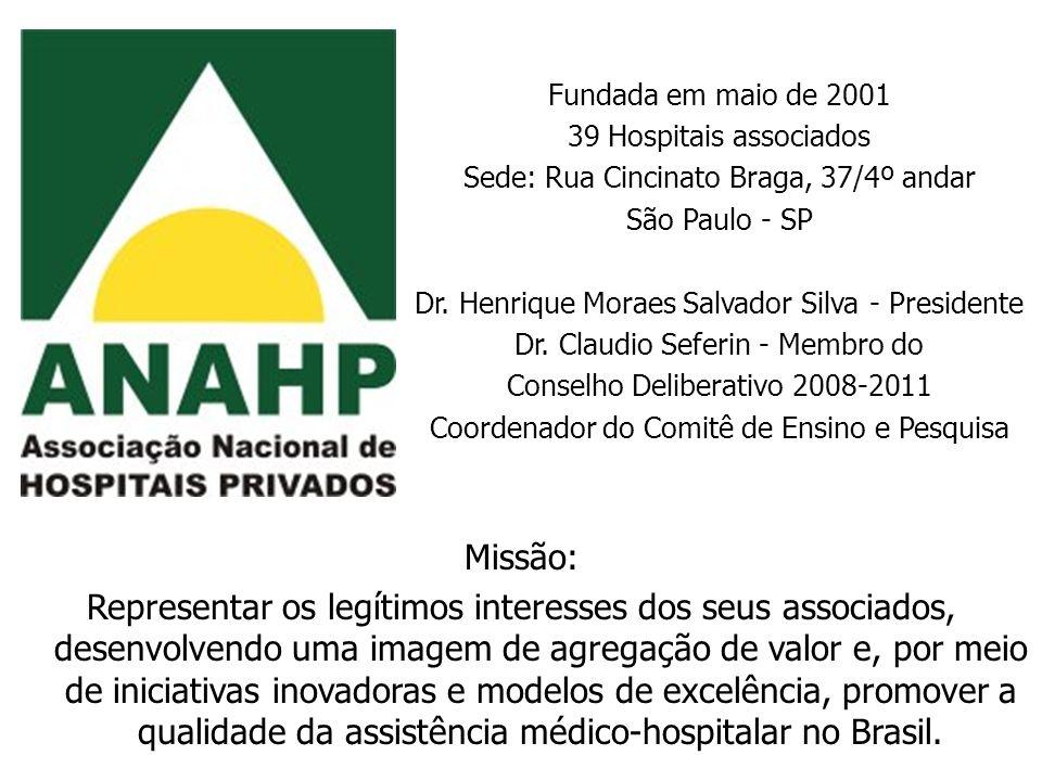 Fundada em maio de 2001 39 Hospitais associados. Sede: Rua Cincinato Braga, 37/4º andar. São Paulo - SP.