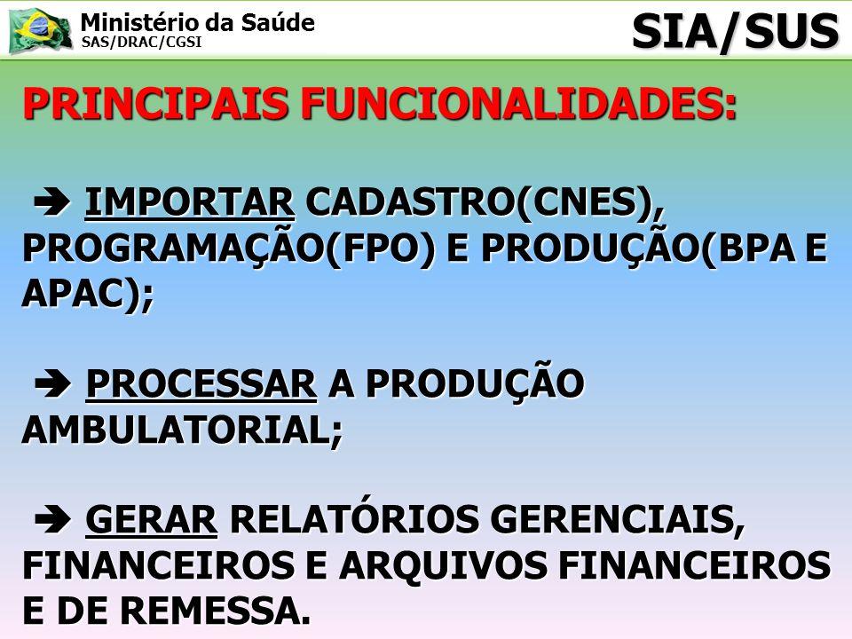 SIA/SUS PRINCIPAIS FUNCIONALIDADES: