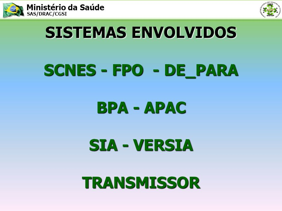SISTEMAS ENVOLVIDOS SCNES - FPO - DE_PARA BPA - APAC SIA - VERSIA TRANSMISSOR