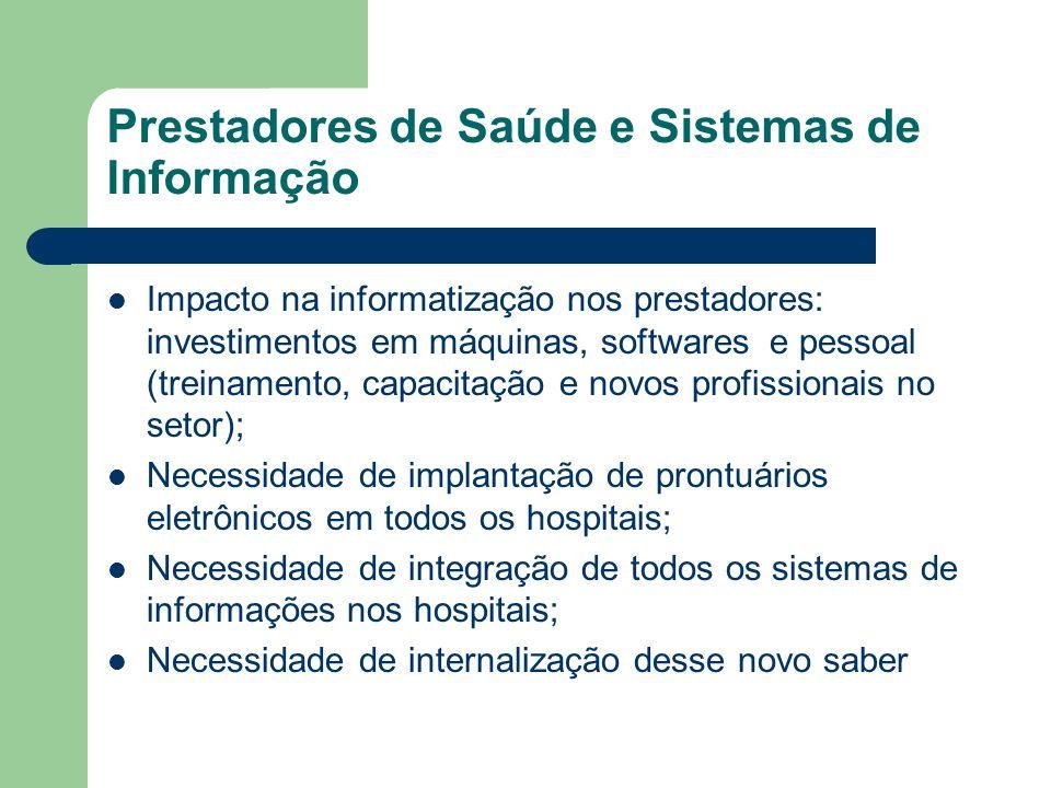 Prestadores de Saúde e Sistemas de Informação