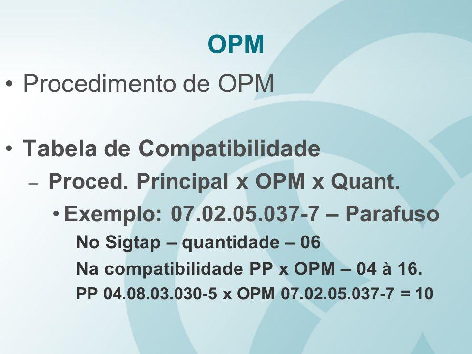OPM Procedimento de OPM Tabela de Compatibilidade