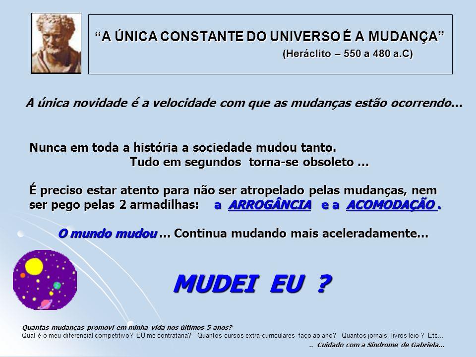 A ÚNICA CONSTANTE DO UNIVERSO É A MUDANÇA (Heráclito – 550 a 480 a