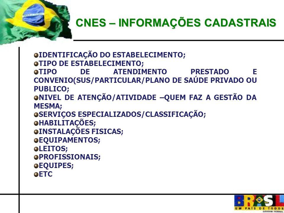 CNES – INFORMAÇÕES CADASTRAIS