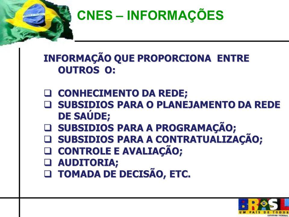 CNES – INFORMAÇÕES INFORMAÇÃO QUE PROPORCIONA ENTRE OUTROS O: