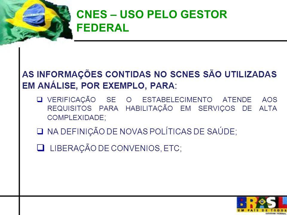 CNES – USO PELO GESTOR FEDERAL