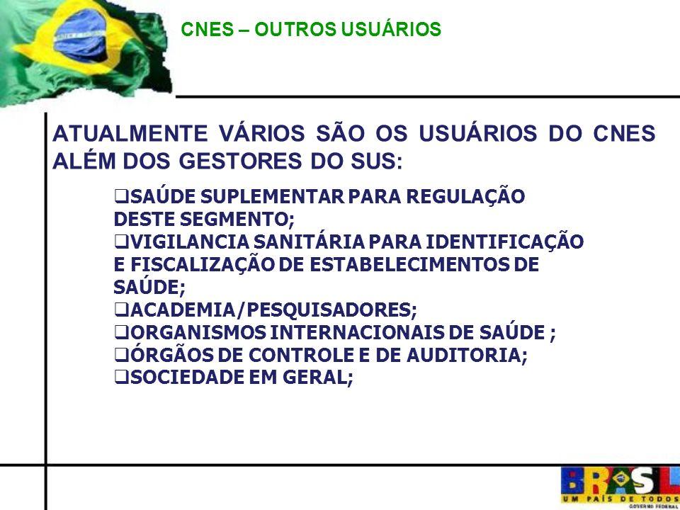 ATUALMENTE VÁRIOS SÃO OS USUÁRIOS DO CNES ALÉM DOS GESTORES DO SUS: