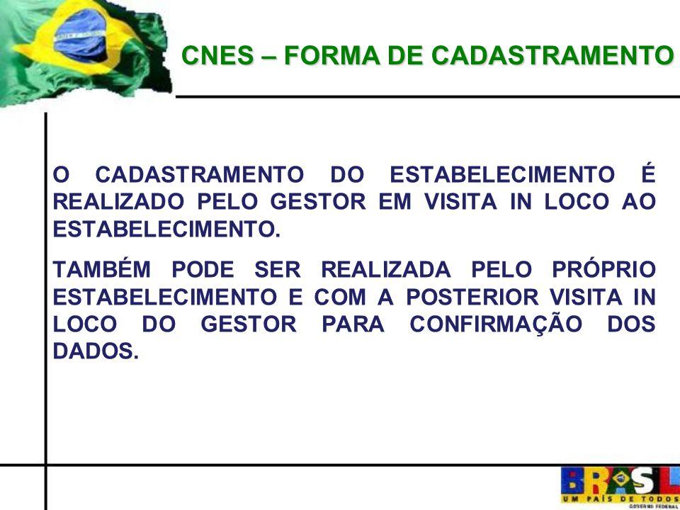 CNES – FORMA DE CADASTRAMENTO