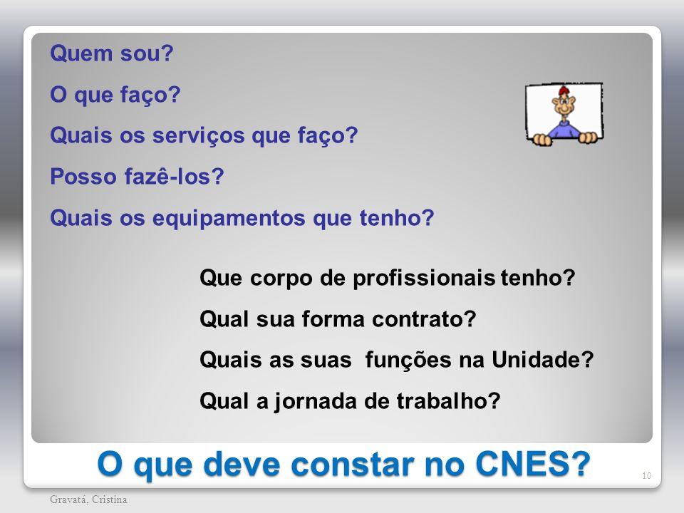 O que deve constar no CNES