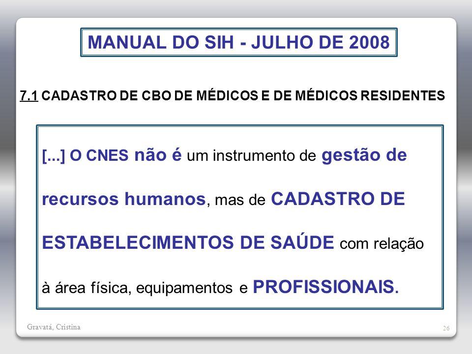 MANUAL DO SIH - JULHO DE 2008 7.1 CADASTRO DE CBO DE MÉDICOS E DE MÉDICOS RESIDENTES.