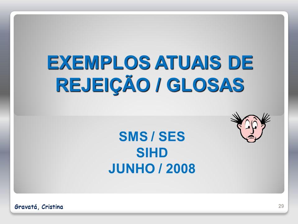 EXEMPLOS ATUAIS DE REJEIÇÃO / GLOSAS