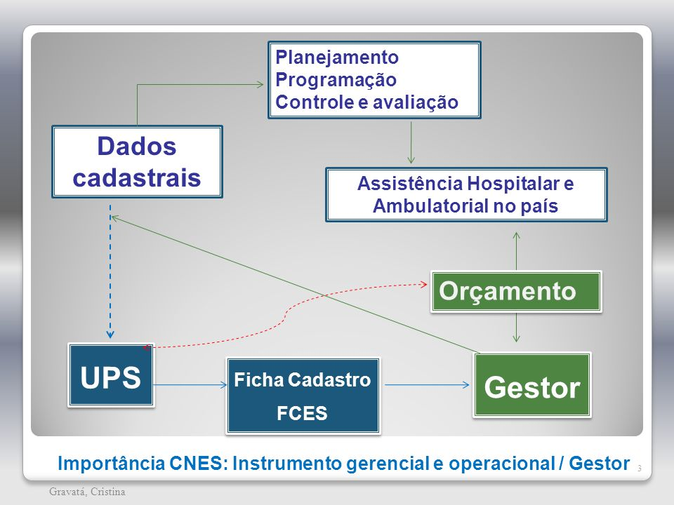 Importância CNES: Instrumento gerencial e operacional / Gestor