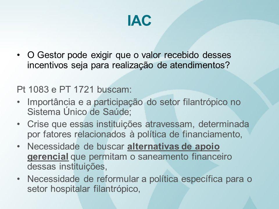 IAC O Gestor pode exigir que o valor recebido desses incentivos seja para realização de atendimentos