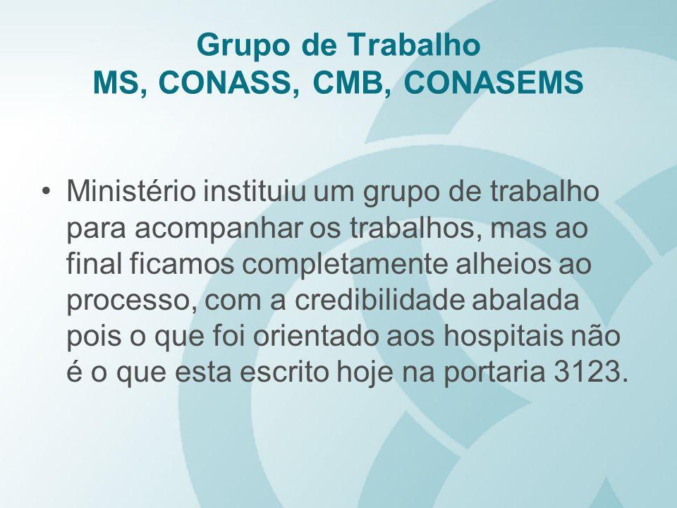 Grupo de Trabalho MS, CONASS, CMB, CONASEMS
