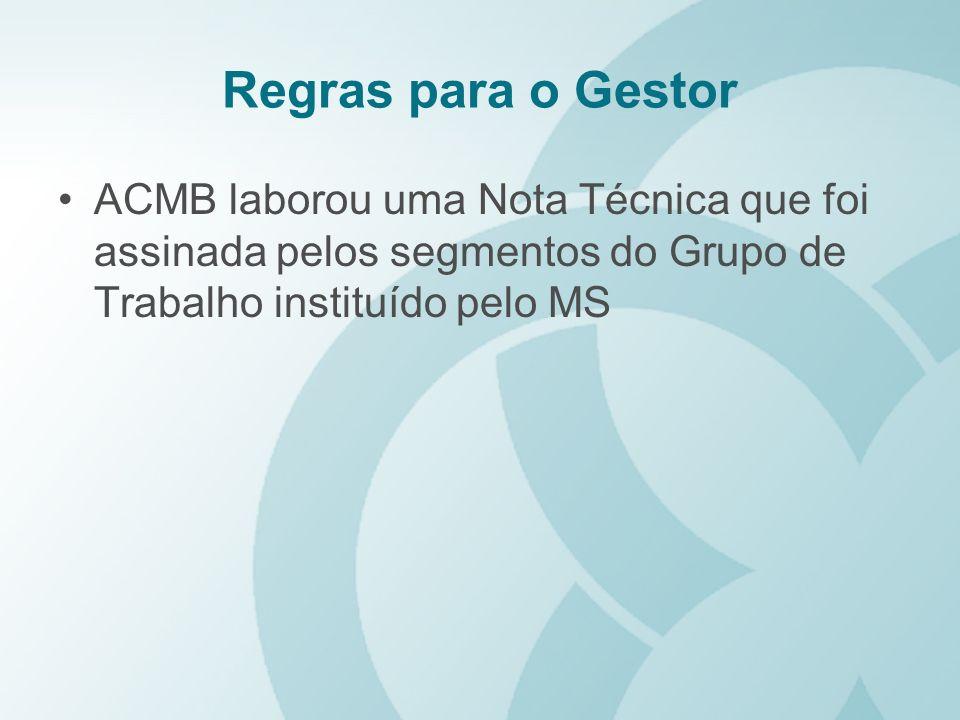 Regras para o Gestor ACMB laborou uma Nota Técnica que foi assinada pelos segmentos do Grupo de Trabalho instituído pelo MS.