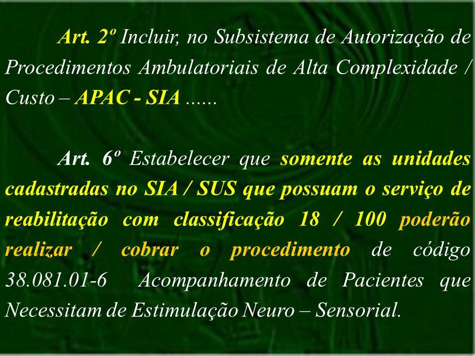 Art. 2º Incluir, no Subsistema de Autorização de Procedimentos Ambulatoriais de Alta Complexidade / Custo – APAC - SIA ......
