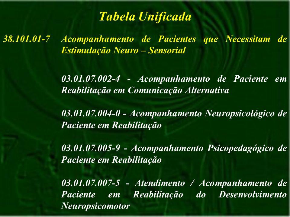 Tabela Unificada 38.101.01-7. Acompanhamento de Pacientes que Necessitam de Estimulação Neuro – Sensorial.