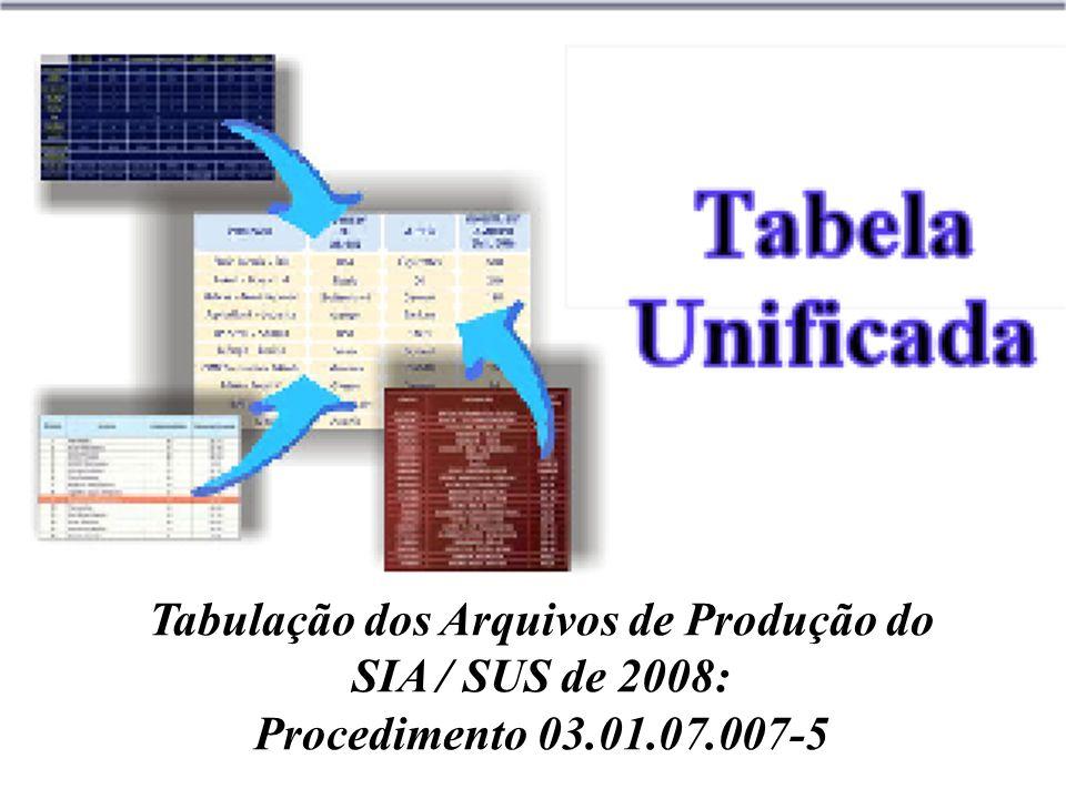 Tabulação dos Arquivos de Produção do SIA / SUS de 2008: