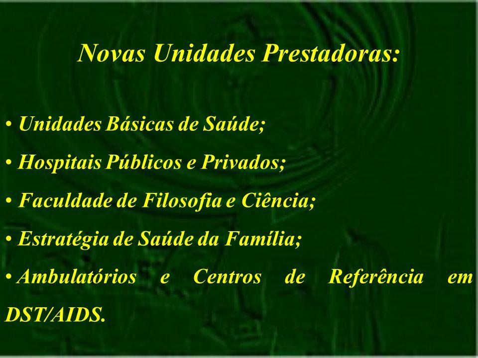 Novas Unidades Prestadoras: