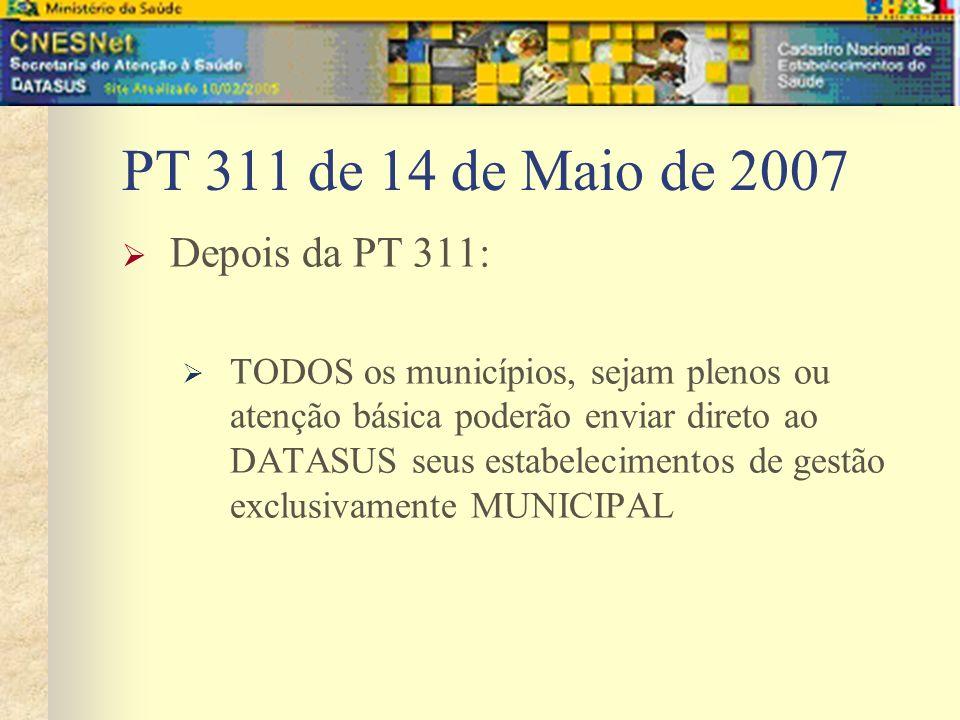PT 311 de 14 de Maio de 2007 Depois da PT 311: