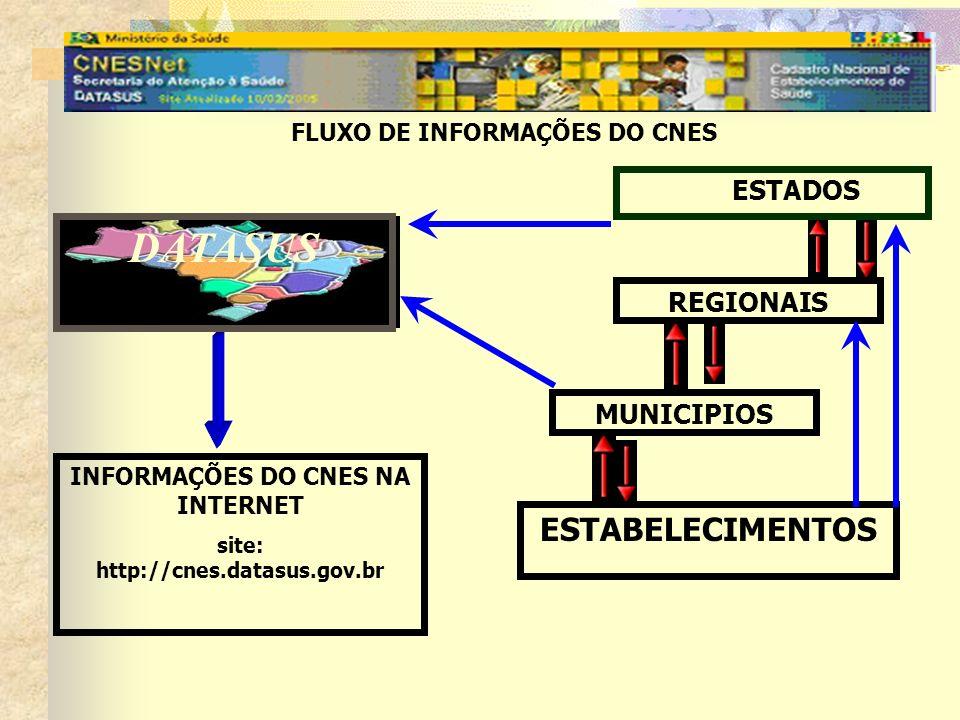 DATASUS ESTABELECIMENTOS ESTADOS REGIONAIS MUNICIPIOS