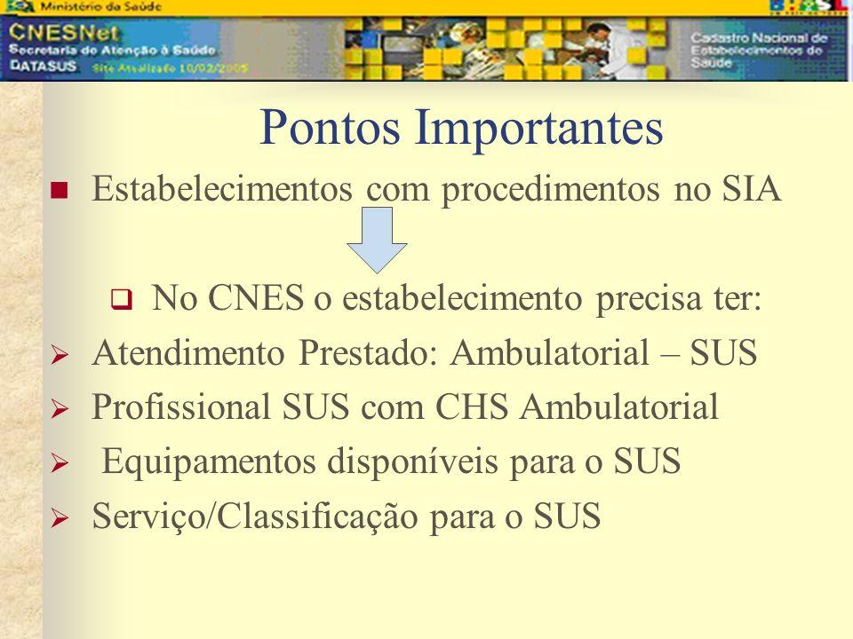 No CNES o estabelecimento precisa ter: