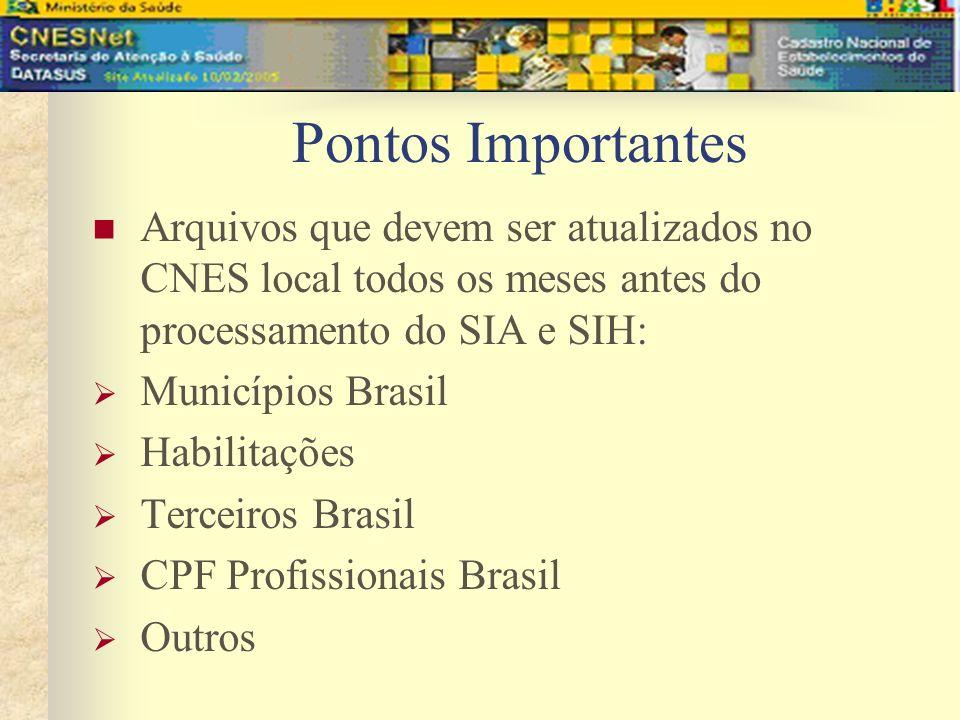 Pontos Importantes Arquivos que devem ser atualizados no CNES local todos os meses antes do processamento do SIA e SIH: