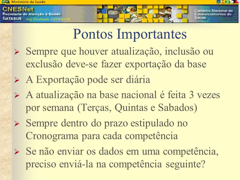 Pontos Importantes Sempre que houver atualização, inclusão ou exclusão deve-se fazer exportação da base.