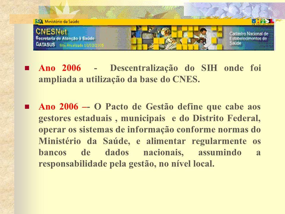 Ano 2006 - Descentralização do SIH onde foi ampliada a utilização da base do CNES.