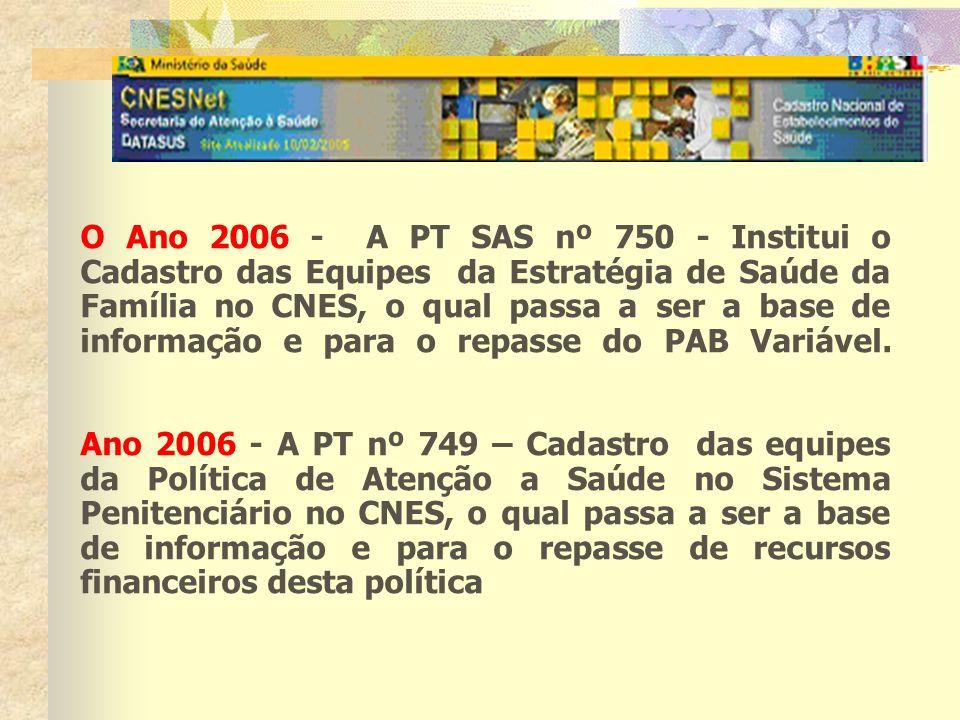 O Ano 2006 - A PT SAS nº 750 - Institui o Cadastro das Equipes da Estratégia de Saúde da Família no CNES, o qual passa a ser a base de informação e para o repasse do PAB Variável.