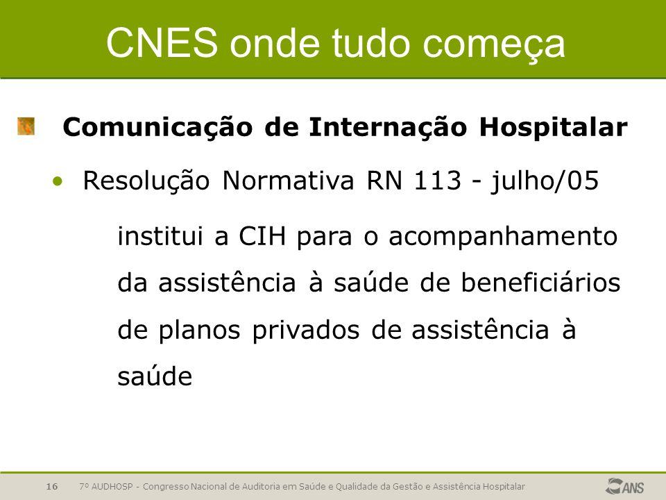 CNES onde tudo começa Comunicação de Internação Hospitalar