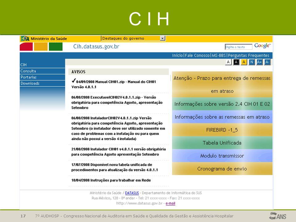 C I H 7º AUDHOSP - Congresso Nacional de Auditoria em Saúde e Qualidade da Gestão e Assistência Hospitalar.