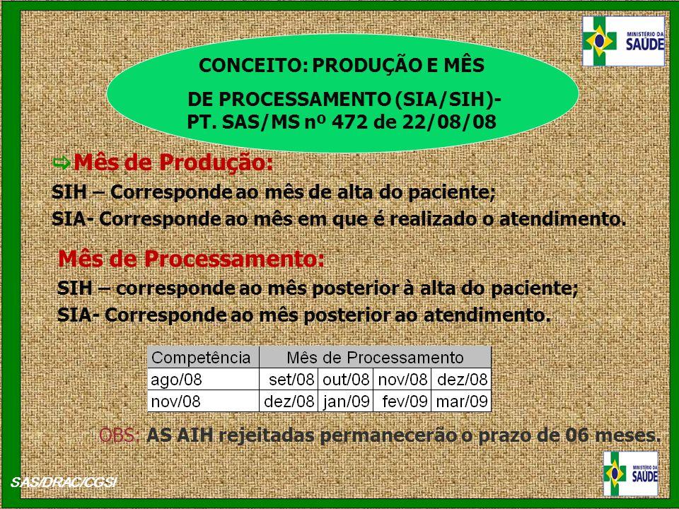 Mês de Produção: Mês de Processamento: CONCEITO: PRODUÇÃO E MÊS
