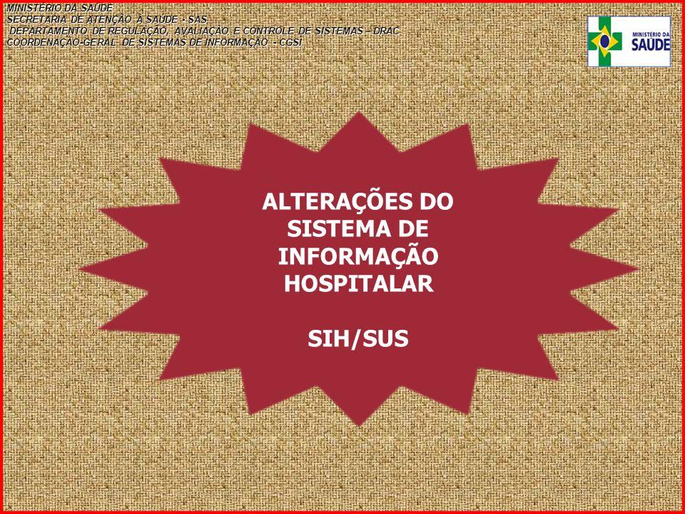 ALTERAÇÕES DO SISTEMA DE INFORMAÇÃO HOSPITALAR