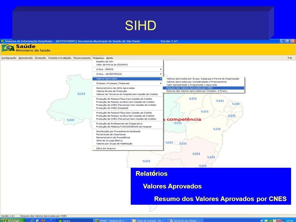 SIHD Relatórios Valores Aprovados